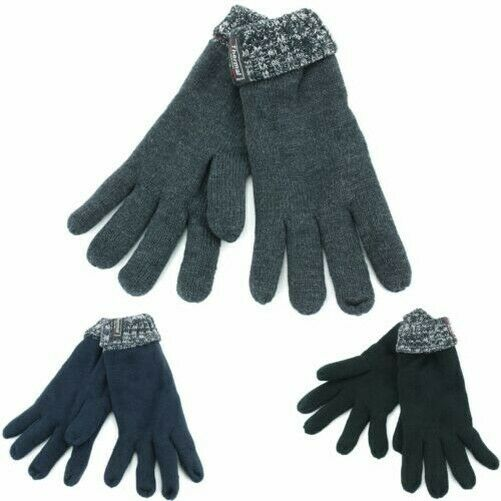 Two-Tone Knitted Mens Gloves Thinsulate Warm Winter Adults Thermal Insulated