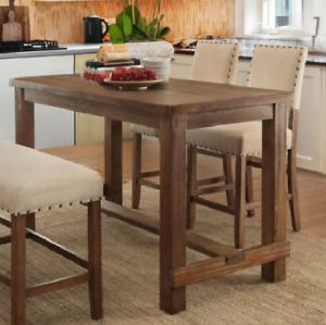 Details About Contemporary Natural Brown Counter Height Dining Table Rustic Distressed Wood