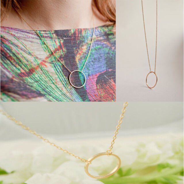 Elegant Womens Simple Clavicle Necklace Chain Round Charm Circle Pendant d