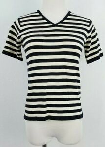 City-Silk-Pullover-Top-Women-039-s-Petite-P-Short-Sleeve-Stretch-Silk-Black-Ivory