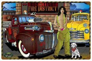 Hot Rod Fire Truck Pin Up Girl Metal Sign Man Cave Garage