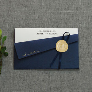 Elegant Wedding Invitations Personalized Navy Pocket Invitation Card