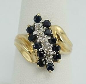 10K-yellow-gold-ladies-sz-7-blue-sapphire-2-diamond-chips-cocktail-ring-3g