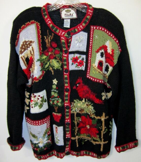 Christmas Sweater L TIARA INT'L Vintage Cardinal Holly Birdhouse Beautiful Ugly