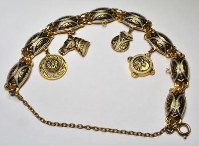 Schmuck & Accessoires Gestempelt Damaszener Gold/silberfarben 4 Baumelnder Anhänger 17.8cm Lang Geschickte Herstellung
