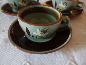 Stangl-Golden-Harvest-White-Lily-Hand-Painted-Pottery-Cup-Mug-Saucer-Lot