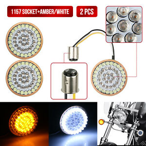 2X-2inch-Bullet-Style1157-LED-White-Amber-Turn-Signal-Running-Lights-For-Harley