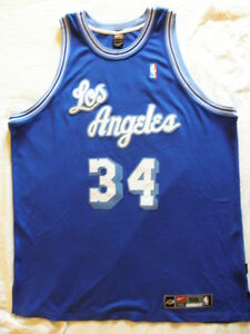 low priced 85dbe 198bd Details about Nike Authentic Los Angeles Lakers Shaquille O'Neal Shaq  jersey 56 Dri Fit 3XL OG