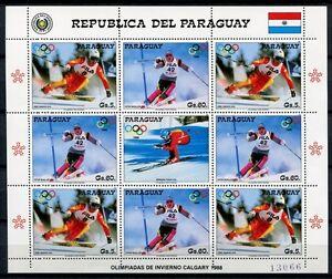 PARAGUAY-1987-Olympiade-Olympics-Calgary-Skisport-4178-4179-Kleinbogen-MNH