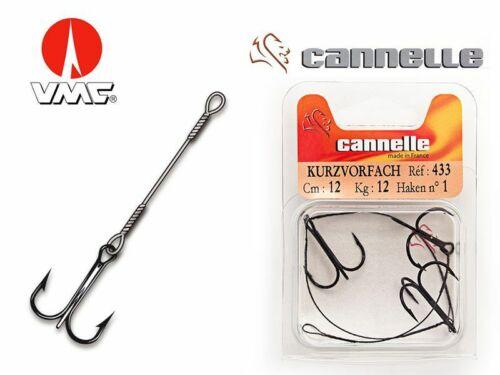 VMC//Cannelle 433 Stinger//Angsthaken//Drillingshaken an black NylFlex Stahlvorfach