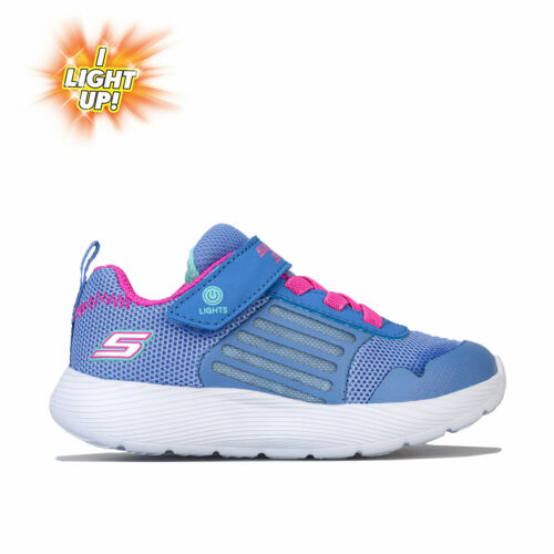 Infant Girls Skechers Dyna Lights Trainers In Blue Hook And Loop Fastening