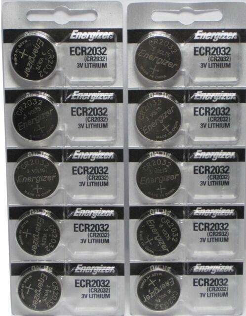 10 Fresh Genuine Energizer CR2032 ECR2032 3v Coin Button Lithium Batteries