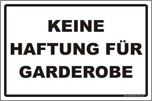 Garderobe schild  20x30cm Schild Aufkleber Keine Haftung für Garderobe | eBay