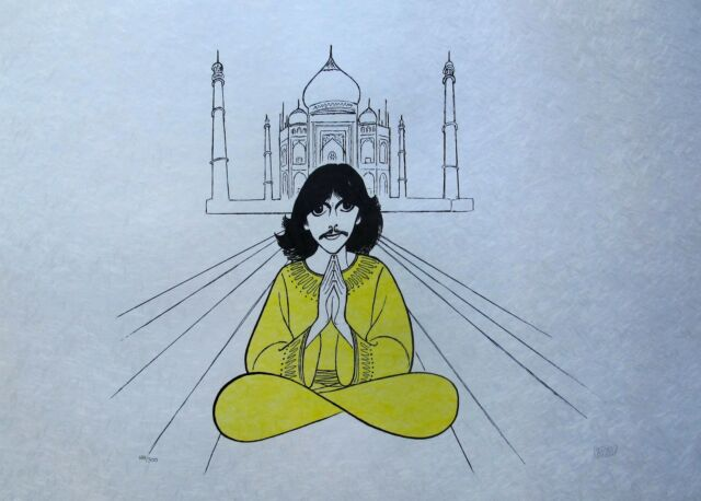 AL HIRSCHFELD GEORGE HARRISON Hand Signed Limited Edition Lithograph THE BEATLES