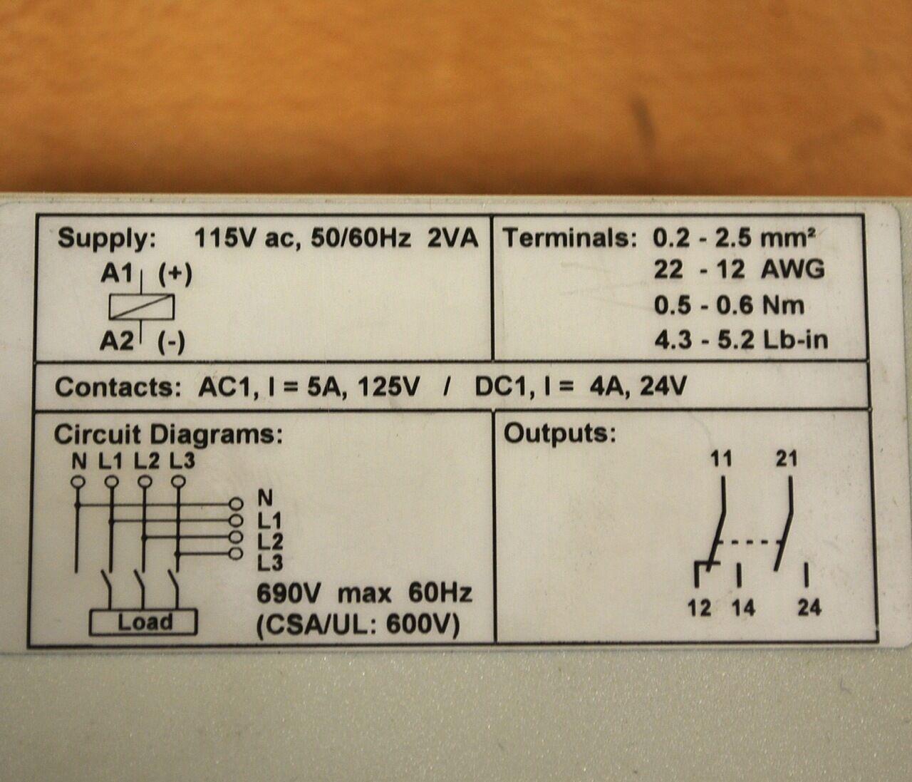 Allen Bradley 813S-E2CD60 rango serie un monitor de fase, rango 813S-E2CD60 de 250-690 voltios de corriente alterna-Usado 596452
