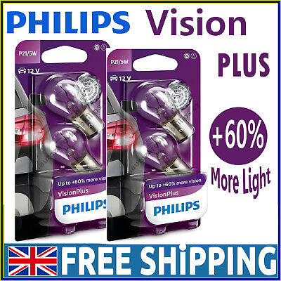 PHILIPS P21//5W Vision Plus Halogen Indicator 12V 21//5W BAY15d 12499VPB2 Twin