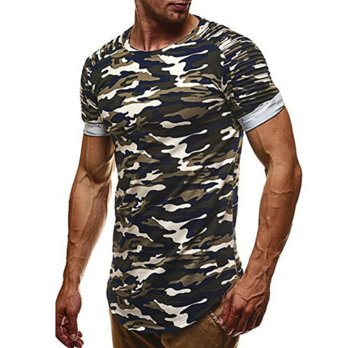 Men/'s Fashion chemisier Shirt tops personnalité Camouflage Casual Slim Muscle Shirt