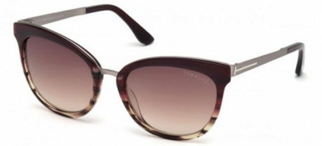 a7734fa84f4 TOM FORD EMMA WOMENS SUNGLASSES SHINY BORDEAUX STRIPE MAUVE GRADIENT FT  0461 71F
