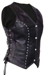 Women Sexy Waistcoat Festival Gilet Ladies w10 Real Black Bikers Leather pZY5pwrqx