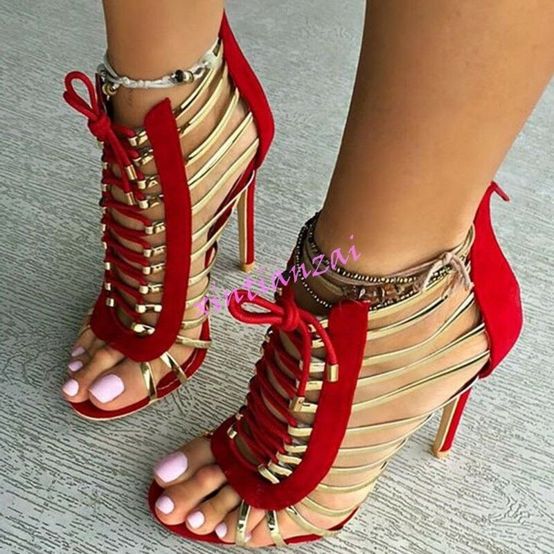 Sexy Womens Open Toe Stilettos Velvet Party Sandals Shoes Club Red Plus Size New