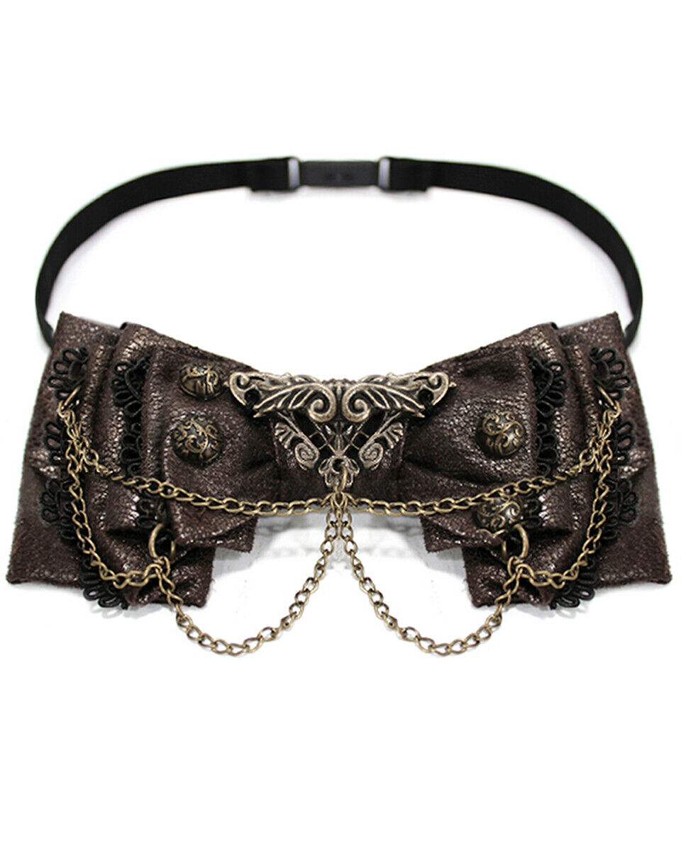 Devil Fashion Steampunk Bow Tie Brown Faux Leather Stud Chain Neck Dickie Bowtie
