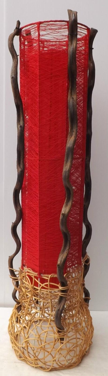 Lampe Lampe sur pied cylindrique cylindrique cylindrique en légume et le tissu rouge rouge cm 100x24 n2   Forme élégante  b82b47