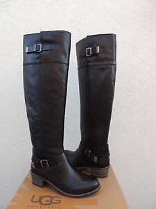 5a3b422840a Details about UGG BESS OVER THE KNEE BLACK LEATHER/ SHEEPSKIN BUCKLE BOOTS,  US 6.5/ 37.5 ~NIB