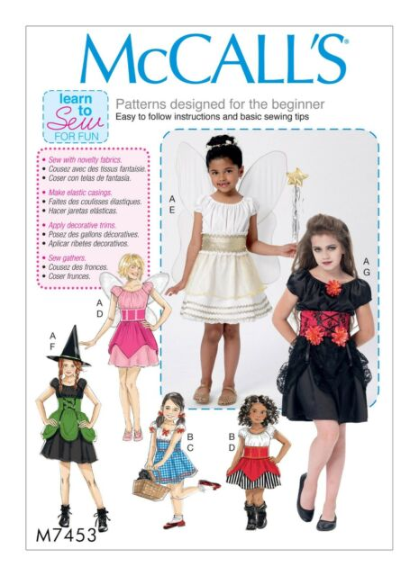 McCalls Easy Sewing Pattern M7453 Childrens/girls Costumes Learn to Sew for  Fun 3 4 5 6(cce)
