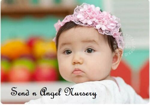 Vintage Style pink lace Headband with double flower for Reborn Doll/Newborn