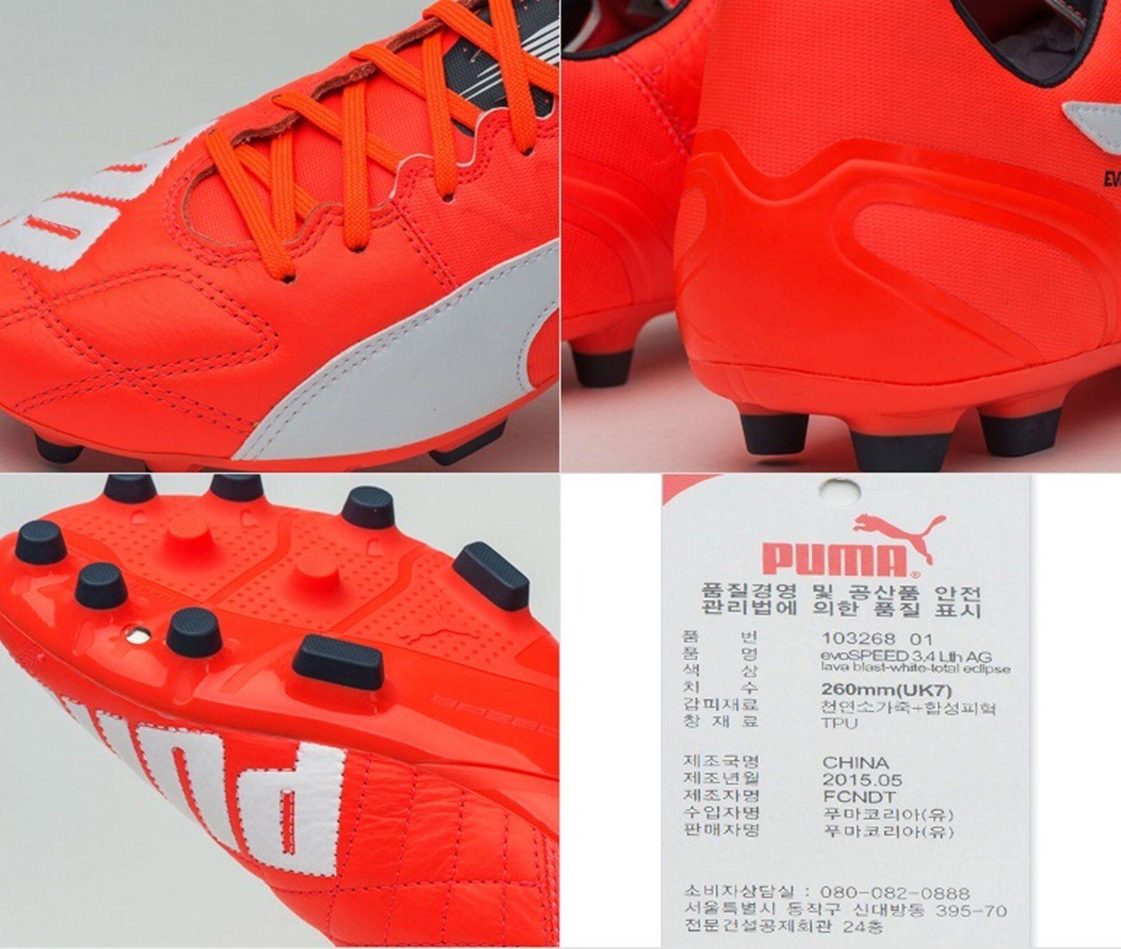 PUMA Men evo-SPEED evo-SPEED Men 3.4 AG Leder Cleats ROT Soccer Schuhes Stiefel Spike 103268-01 1ceed0