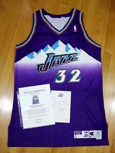 698c6d4bd89 Karl Malone Jazz Game Worn Used Road Jersey Jazz Employee LOA | eBay