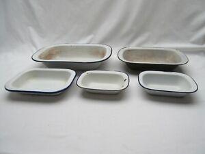 5 vintage asst oblong 4 white 1 green enamel pie baking cooking oven dishes