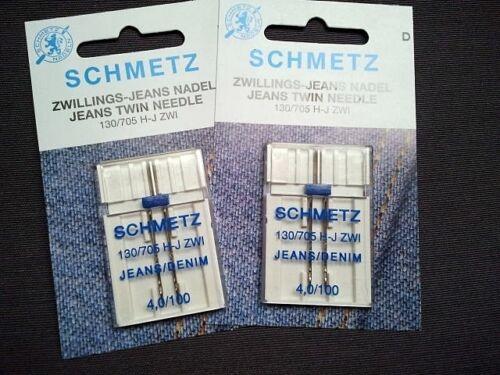 de Schmetz 4 mm de grosor 100 2 gemelo jeans aguja