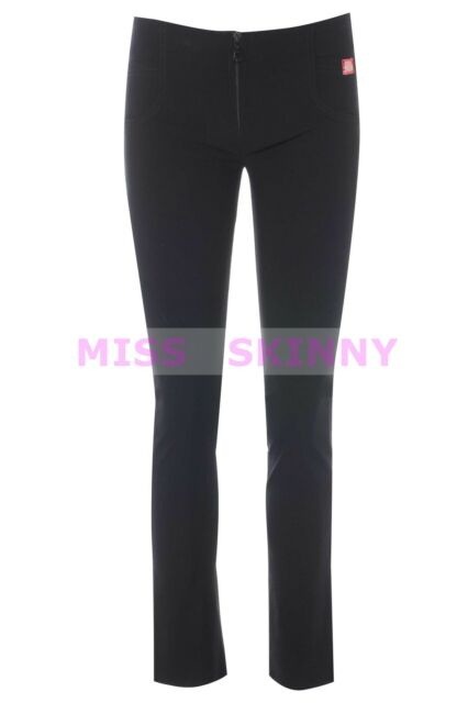 NEW MISS SKINNY black zip Skinny black hipster SEXY school Trousers sizes 6-14