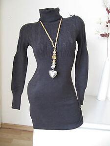 große Auswahl Suche nach Beamten zu verkaufen Details zu Strick Kleid Pullover Pulli kleines Zopf Muster Rollkragen braun  36 38 40 M