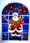 Stained Glass Window Cling Sticker Snowman Santa Tree Christmas Decoration Xmas
