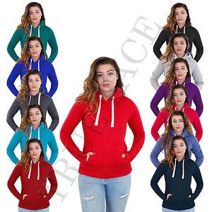New-Ladies-Plain-Pull-Over-Womens-Hoody-Fleece-Casual-Gym-Adult-Top-Sweatshirt