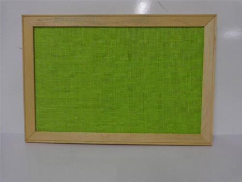 VINTAGE 12 X 18 GREEN BURLAP MESSAGE BULLETIN WOOD FRAME WALL MOUNT DISPLAY A