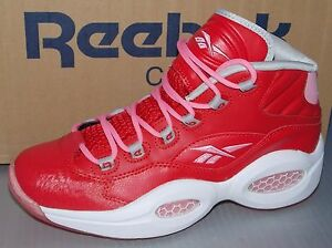 a337930faff GIRLS REEBOK QUESTION MID in colors SCARLET   LIGHT PINK   WHITE ...