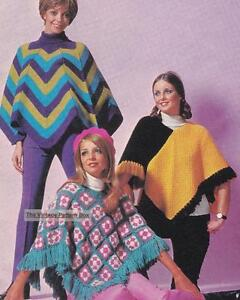 Details about 3 EASY PONCHOS / 2 knit 1 crochet - 8ply or D K  - COPY  ladies knitting pattern
