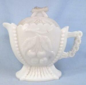 Westmoreland-Grape-amp-Cherry-Creamer-amp-Lid-Milk-Glass-EAPG-Antique-As-Is
