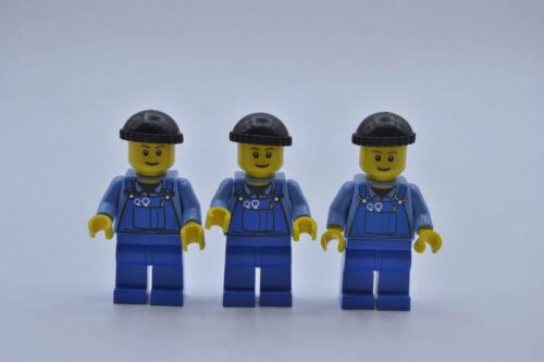 LEGO 3 x Figur Minifigur City Hafenarbeiter Overall boat010 aus Set 9311 7907