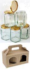 20 X 190ml 8oz HEXAGONAL PRESERVE HEX GLASS JAR JARS JAM HONEY & 10 X GIFT BOXES