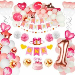 Birthday Decorations Baby Girl 1st Birthday Party Supplies Pink Decorations Ebay