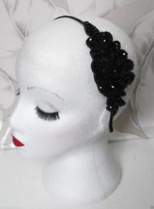 1920s Black Silver Sequin Headband Headpiece Vintage Great Gatsby Flapper 594