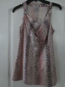 d650c8799fd659 NEW CACHE 100% SILK BLOUSE SLEEVELESS TANK TOP SNAKESKIN PINK SIZE S ...