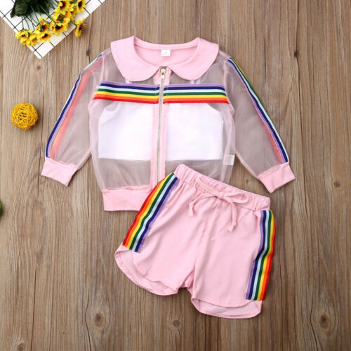 Toddler Kids Baby Girl Coat+Vest+Pants Outfit 3Pcs UV Sunsuit Clothes Summer Set