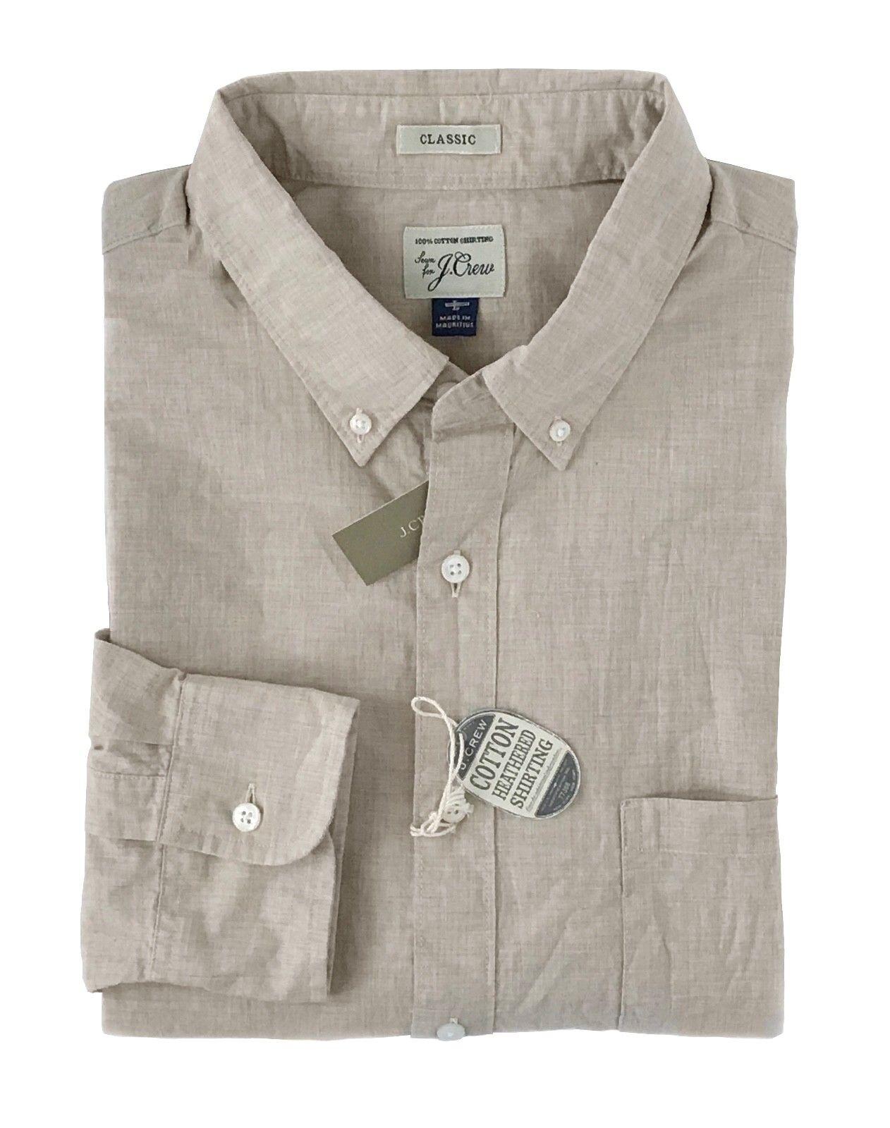J Crew - Mens L - Classic Fit - Sand Stone Khaki Heathered Cotton Shirt