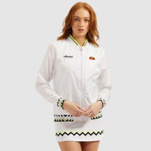 Ellesse-Women-Track-Top-Jacket-White-Retro-Logo-Tennis-Bomber-Style-Zip