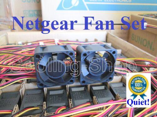 Set of 2x Quiet Version fans for Netgear ProSafe GS752TP Smart Managed Switch